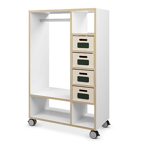 Mobile Garderobe Aus Holz Mit Ablage Fachern Amazon De Kuche