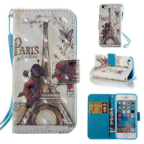 iPhone 5S Case,iPhone SE Case,Gift_Source Fashion Flip PU Leather Holster [Card Slots] [Wrist Strap] 3D Painted Wallet Folio Magnet buckle Case Stand Cover for iPhone SE/5/5s [Paris Tower]