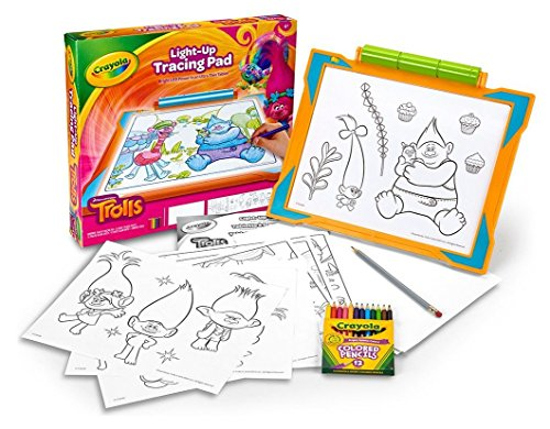Large Product Image of Crayola Trolls Light-up Tracing Pad, Coloring Board for Kids, Gift, Toys for Girls, Ages 6, 7, 8, 9