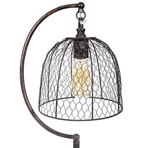Lamp with Chicken Wire Shade Light Vintage Look Country Farmhouse Rustic Decor