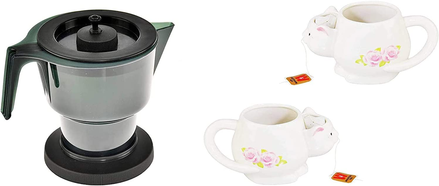 HOME-X Microwave Tea Kettle With Lid and Insert, Plastic Teapot for Hot Drinks, Christmas Gift, 1.2 Liters and Novelty Ceramic Coffee Mug With Cat Sculpture for Office, 12 Oz Capacity Set of 2