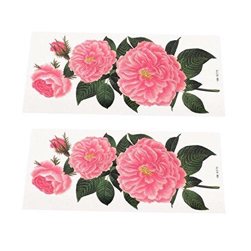 Motif Fleur amovible autocollant tatouages temporaires 2 feuilles vert Rose