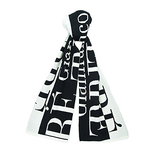 Gianfranco Ferre SCR 01949 Black/White Knitted Signature Wool Blend Mens' Scarf