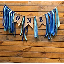 Mity Rain 1st Birthday Decorations Banner,Baby Boy's First Birthday Burlap Highchair Banner,Blue Ribbon-Nautical Theme Decoration
