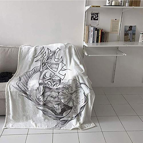 Suchashome Children's Blanket Girl Lightweight E x tra Big (50 by 60 Inch,Tattoo Decor,Ancient Tribal Unicorn Icon with Human Face and Koi Fish Chinese Dragon Art,Grey -