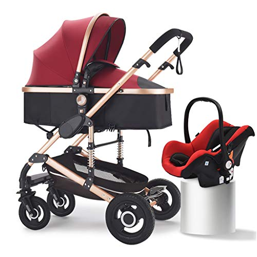 JIAX Pram Travel System 3 in 1, Adjustable High View Pram, Umbrella Stroller Travel System with Baby Basket and Anti-Shock Springs,Infant Carriage Pushchair (Color : Wine red)