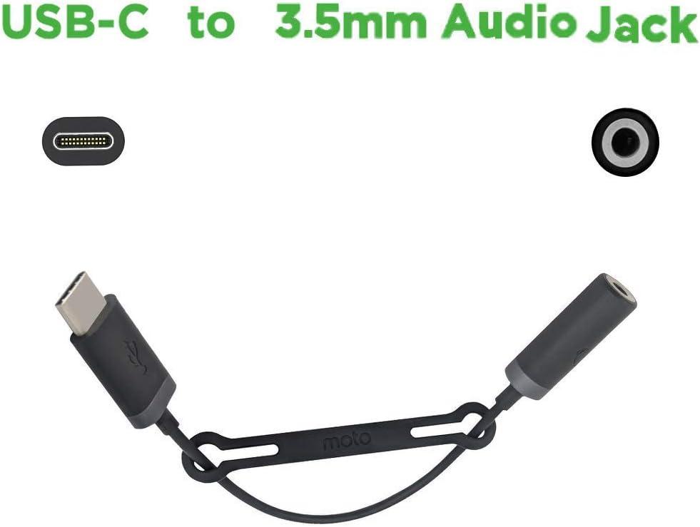 Black SKN6474A Motorola USB-C to 3.5mm Audio Headphone Jack Adapter Cable