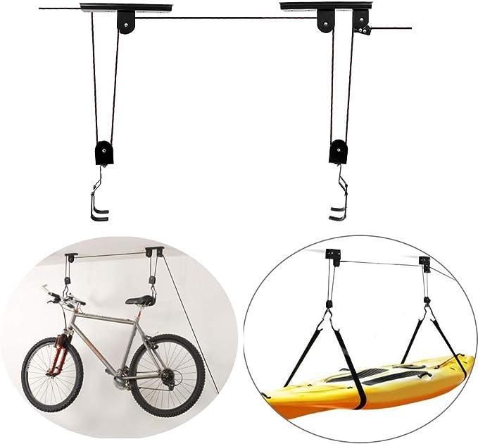 ShopSquare64 BIKIGHT Bicicleta de Ciclismo Ascensor de Bicicleta Techo Montado Polipasto Garaje Bicicleta Percha Ahorre Espacio Techo C: Amazon.es: Deportes y aire libre