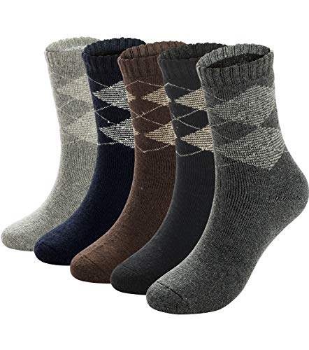 (Mens Warm Wool Socks Thick Winter Thermal Stripe Wool Crew Socks 6 or 5 Pairs (Mix_agyle,5 pairs))