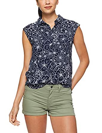 French Connection Women's Beach Floral Sleeveless Shirt, Nocturnal/Summer WHI, Fourteen