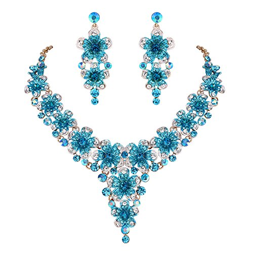 BriLove Wedding Bridal Necklace Earrings Jewelry Set Crystal Multi Hibiscus Flower Enamel Statement Necklace Dangle Earrings Set Blue Topaz Color - Multi Crystal Topaz
