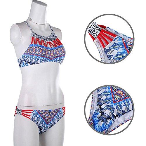 Domybest Sexy Frauen Halfter Badeanzug Gepolsterte Geometrie Muster ...