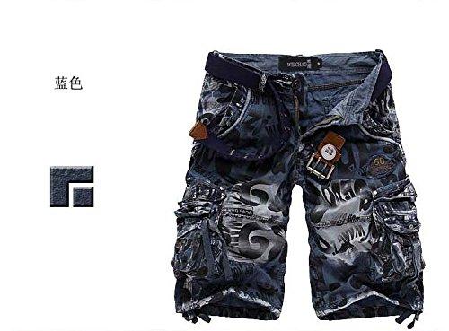 LOVECC Men's Cotton Loose Fit Multi Pocket Cargo Shorts Blue US: 36 size(Label 38)