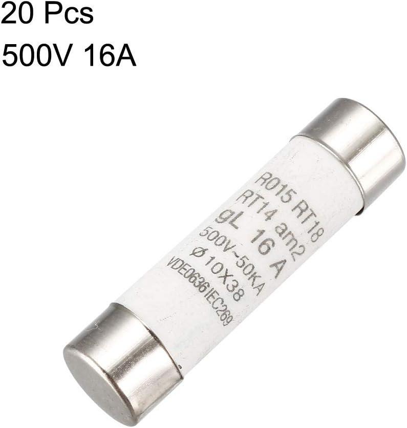 20pcs Ro15Rt18Rt14GG 10x 38mm Céramique Cylindre Caps Fuse 500V 16A