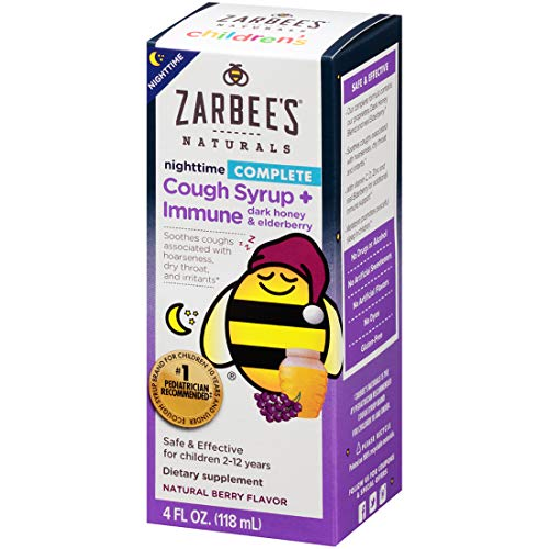 Zarbee's Naturals Children's Complete Cough Syrup + Immune Nighttime with Dark Honey & Elderberry, Natural Berry Flavor, 4 Ounce Bottle