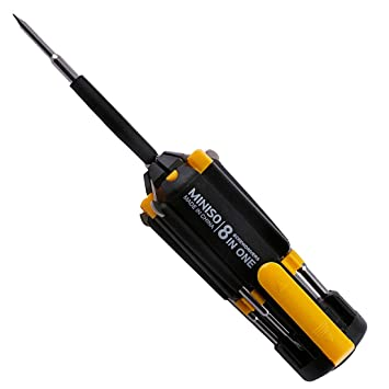 MINISO 8 in 1 Pieces Screwdriver Set Interchangeable Screwdriver Bits Tool Set, Repair Tool Kit (Yellow+Black)