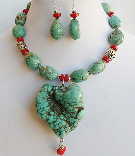 Claire Kern Creations Huge Turquoise Freeform Heart Pendant Coral Necklace Earrings Year End Sale Freeform Heart Ring