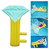 DMGF Inflatable Pool Floats For Adults Giant Diamond Key Shape Portable With Rapid Valves Summer Outdoor Swimming Beach Party Lounge Drifter Mat
