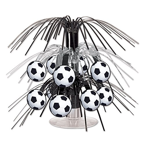Beistle Soccer Ball Cascade Centerpiece, 71/2-Inch, Black/Silver/White]()
