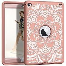 "iPad mini 4 Case, iPad A1538/A1550 Case, Hocase Shockproof Silicone Rubber Bumper+Hard Shell Hybrid Full Body Protective Case for Apple iPad mini 4 Retina 7.9"" - Rose Gold Mandala Flower"