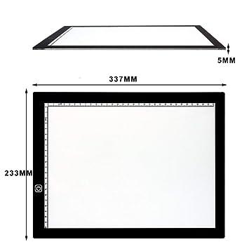 kadundi LED Luz Pad brillo regulable Fácil Buzón A4 Bombilla mesa portátil dibujar pintar Light Pad con cable USB Pad Ideal para pintar skizzierung ...