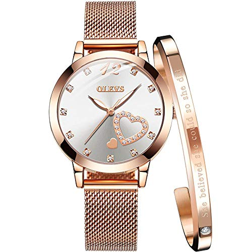 Rose Gold Watch Fashion Watches for Women Waterproof Creative Magnetic Wristband Stainless Steel Strap Love White face Ladies Watches for Lovers Female Wrist Watch with Bracelet Set