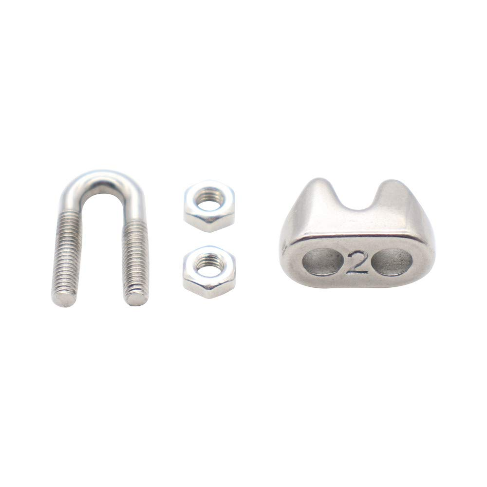 Eowpower 10Pcs 1//16 inch M2 Stainless Steel 304 Wire Rope Cable Clip Clamp