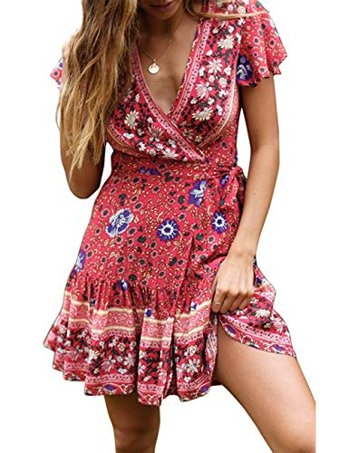 MEROKEETY Women's Summer Wrap V Neck Bohemian Floral Print Ruffle Sleeves A Line Beach Mini Dress Red
