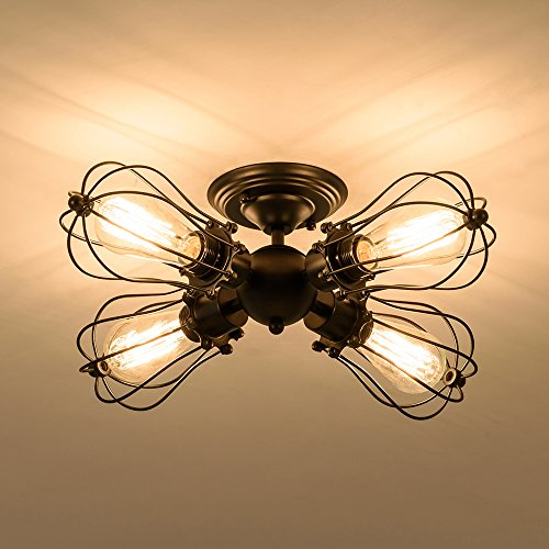 Ceiling Light, Csinos Industrial Black Vintage Ceiling Lighting 4-Light Wire Cage Semi-flush Mount Ceiling Light Fixture - Black Vintage Lighting