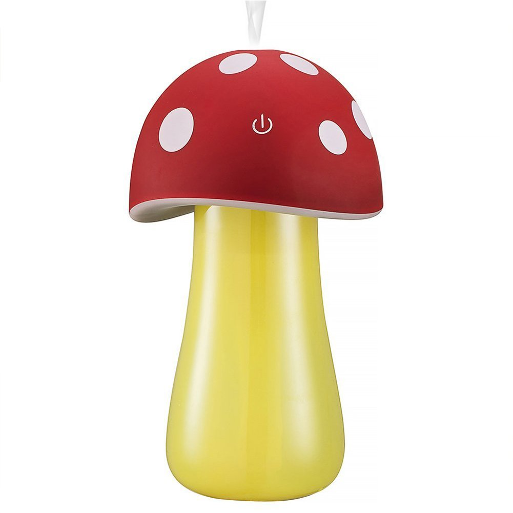 Topbeu Creative Mushroom Shape Ultrasonic Cool Mist USB Baby Room Bedroom Spa Car Humidifier with Auto Shut-off Function (Red)