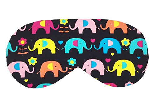 Sleeping Sheep (Black Colorful Elephants) Handmade Sleep Mask Lightweight  Comfortable Soft and Smooth Eyeshade Eye Cover Sleep Mask for Travel, Nap,…