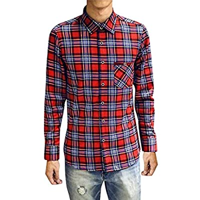 NUWFOR Men Winter Casual Plaid Printed Thicken Long Sleeve Slim T-Shirt Top Blouse