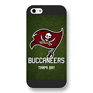 UniqueBox Customized NFL Series Case for iPhone 5 5S, NFL Team Tampa Bay Buccaneers Logo iPhone 5 5S Case, Only Fit for Apple iPhone 5 5S (Black Frosted Shell)