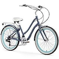 sixthreezero EVRYjourney Women's 21-Speed Step-Through Hybrid Cruiser Bicycle, Navy w/White Seat/Grips