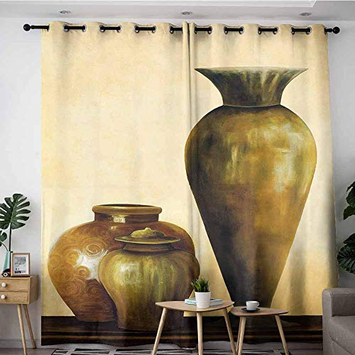Caprice Vase - LOVEEO Waterproof Window Curtains,Vase Craft Oil Painting Design (3),for Bedroom Grommet Drapes,W72x108L