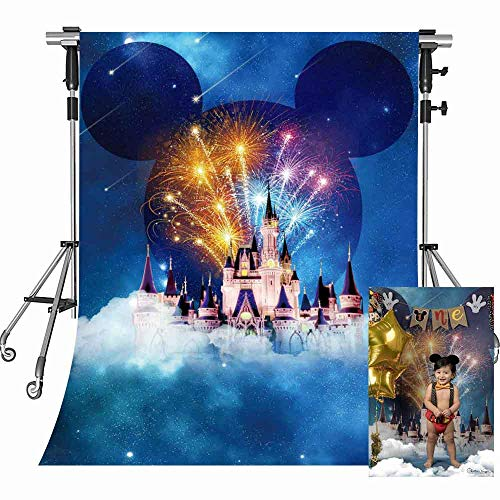 (MEETS 5x7ft Disneyland Backdrop White Building Mickey Mouse avatar Photography Background Themed Party Photo Booth YouTube Backdrop)