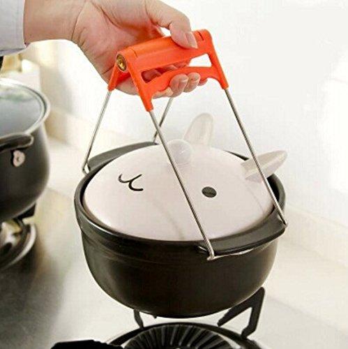 HUAJI Stainless Steel Folding Dish Plate Bowl Tong Plate Retriever Clip (Orange) (Clip Retriever)