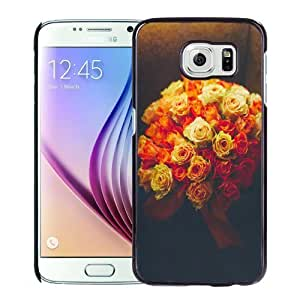 NEW Unique Custom Designed Samsung Galaxy S6 Phone Case With Valentines Gift Idea Roses Bouquet Romantic_Black Phone Case