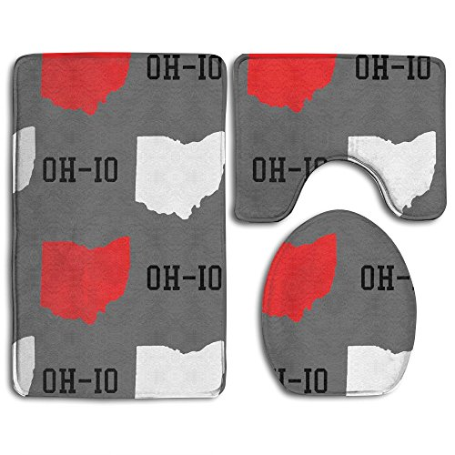 HOMESTORES New Oh-io State Map Gray Bathroom 3-Piece Mat Sets Pedestal Mat+Lid Toilet Cover+Bath Mat Doormat Non-slip Rug