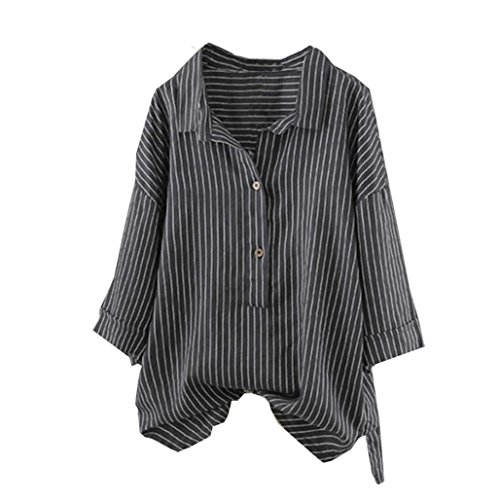 DEATU Women Button Up Pullover Classic Striped Cotton Linen Long Sleeve Comfy Cheap Top T Shirt Tunic Blouse (XL, -