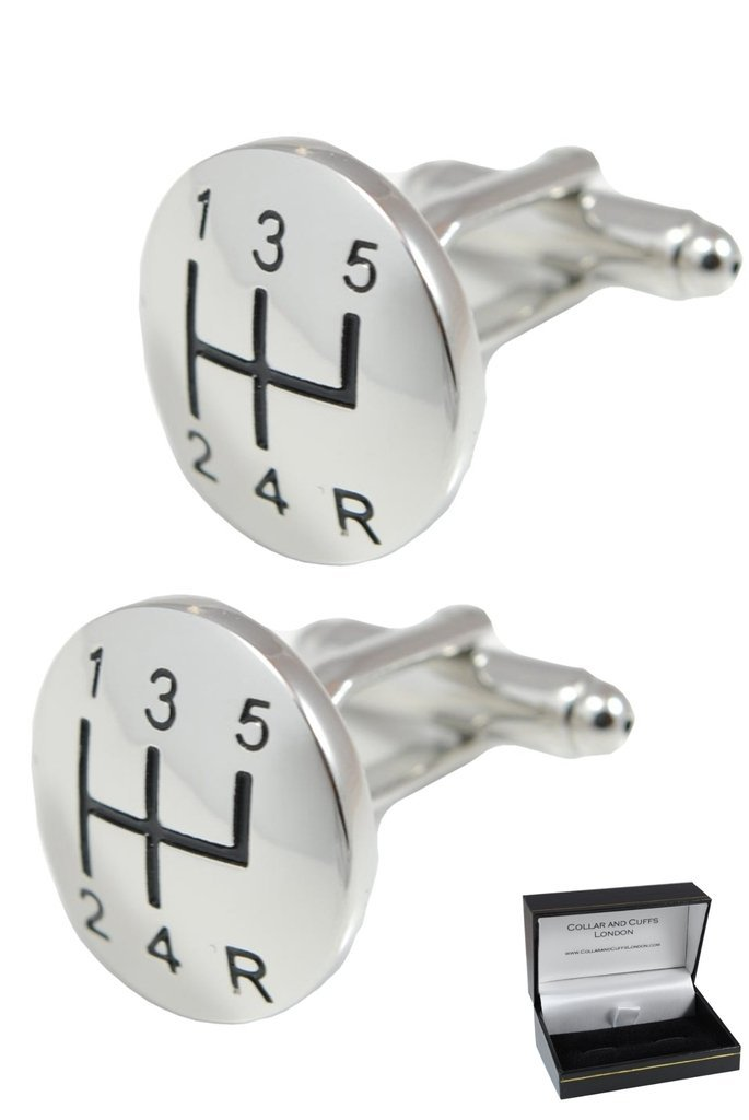 COLLAR AND CUFFS LONDON - Premium Cufflinks with Gift Box - Gear Stick with A Domed Face - Perfect for Car Lovers - Brass - Round Gear Knob Shift - Silver Colour