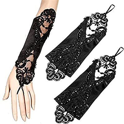 Women's Lace Wedding Dress Glove Fingerless Satin Gloves for Bride Evening Party