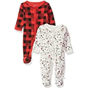Rosie Pope Baby Boys Coveralls 2 Pack, Red Plaid & White Camping Theme, 0-3 Months