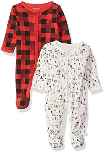 Rosie Pope Baby Boys Coveralls 2 Pack, Red Plaid & White Camping Theme, 3-6 Months