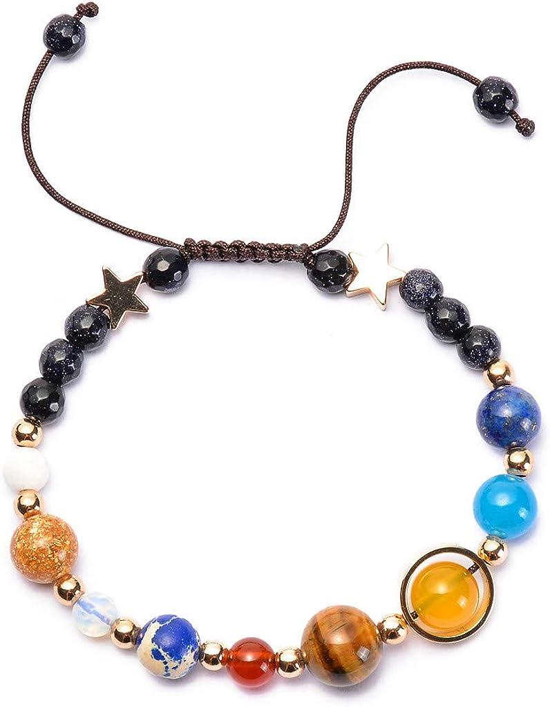 SIOPEW Bracelet Unisex Femme Homme Chakra Pierre Naturelle Personnalis/é Boheme Bracelet de Chakra de Yoga en Pierre Naturelle avec Bracelet en Perles de Huit plan/ètes