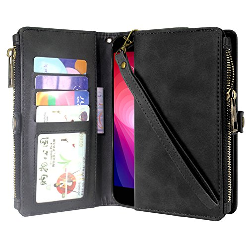 Cheap LG X Power 2 Case, LG X Charge Case, LG Fiesta LTE Case, Linkertech Premium Leather Flip Zipper Wallet Case Cover with Card Holder and Wrist Strap for LG K10 Power/LG LV7 (Zipper Black)