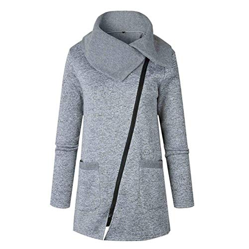 Jacket Newmarket (Qounfhy Autumn Winter Knitted Sweater Cardigan Women Winter Jacket Plus Zipper Coat Tricot Jacket,Gray,M)