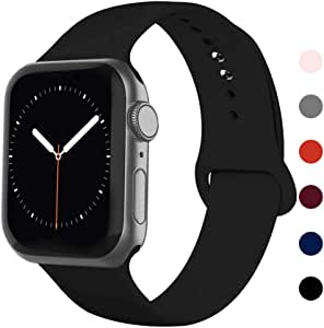 Ontube Bands Compatible with iWatch,Soft Silicone Adjustable Sport Replacement Straps for iWatch Series 5/4/3/2/1 (38mm/40mm, Black)