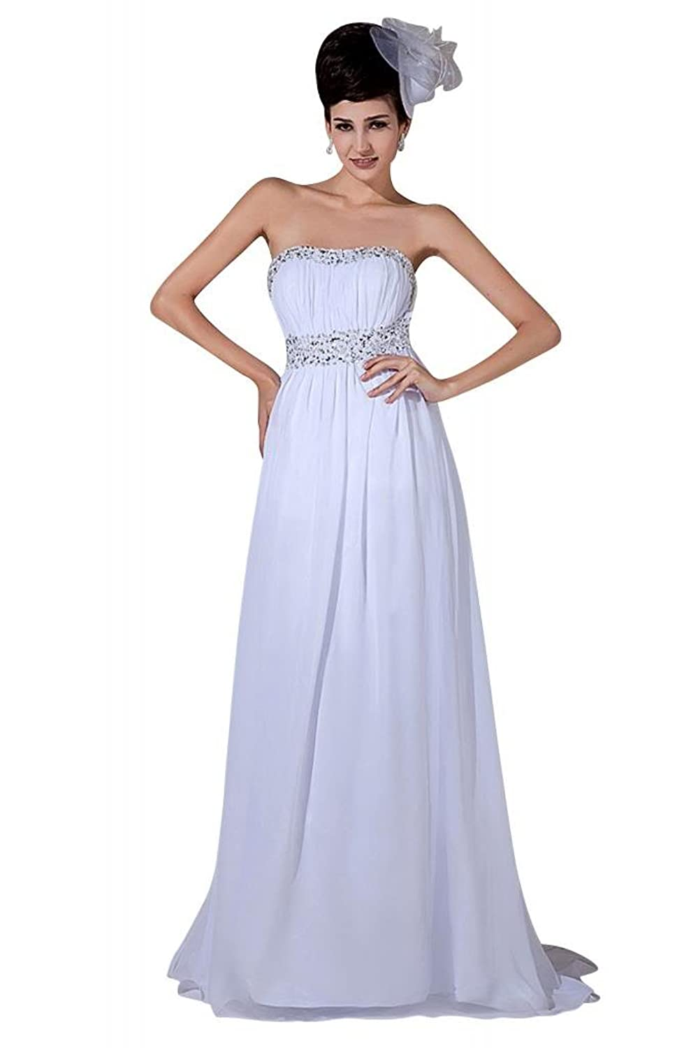 GEORGE BRIDE Goddness Chiffon Strapless Long Evening Gowns