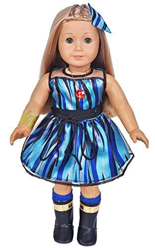 [해외]Ebuddy 6개세트 Evie 영감을 받은 코스튬 인형 의상 드레스는 18인치 인형에 맞는 신발 포함 미국 소녀 여행 여가 세대 등 / ebuddy 6pcSet Evie Inspired Costume Doll Clothes Dress Include Shoes Fits 18 inch Dolls Includes American Girl, Jo...